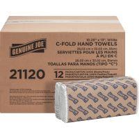 "Genuine Joe C-Fold Paper Towels, 10.10"" x 13"", White, 200 sheets, 12 packs/carton GJO21120"