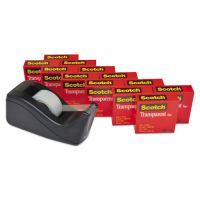 "Scotch Transparent Tape Dispenser Value Pack, 1"" Core, Transparent, 12/Pack MMM600KC60"
