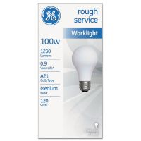 GE Rough Service Incandescent Worklight Bulb, A21, 100 W, 1230 lm GEL18275