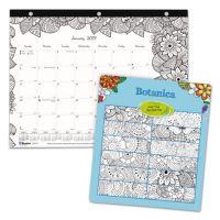 Blueline DoodlePlan Desk Pad Mini Calendar w/Coloring Pages, 11 x 8 1/2 REDC2917211