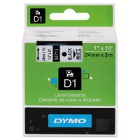 "DYMO D1 High-Performance Polyester Removable Label Tape, 1"" x 23 ft, Black on White DYM53713"