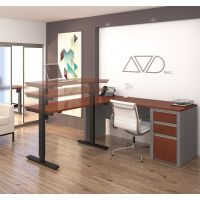 Bestar Connexion L-Desk including Electric Height Adjustable Table in Bordeaux & Slate BESBES9388539
