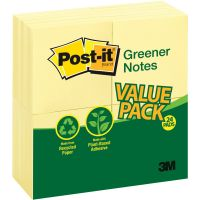 Post-it Greener Notes Recycled Note Pads, 3 x 3, Canary Yellow, 100-Sheet, 24/Pack MMM654RP24YW
