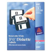 "Avery Laser/Inkjet 3.5"" Diskette Labels, White, 375/Pack AVE6490"
