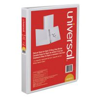 "Universal Deluxe Easy-to-Open 3-Ring View Binder, 1"" Capacity, D-Ring, White UNV30712"