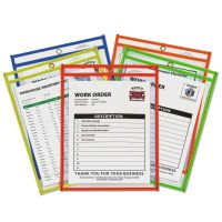 """C-Line Stitched Shop Ticket Holder, Neon, Assorted 5 Colors, 75"""", 9 x 12, 25/BX CLI43910"""