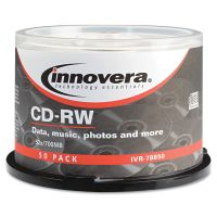 Innovera CD-RW Discs, Rewritable, 700MB/80min, 12x, Spindle, Silver, 50/Pack IVR78850