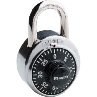 "Master Lock Combination Lock, Stainless Steel, 1 7/8"" Wide, Black Dial MLK1500D"
