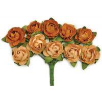 """Mini Paper Blooms .5"""" Flowers W/Wire Stems 10/Pkg NOTM272338"""