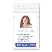 Advantus Resealable ID Badge Holder, Vertical, 2 7/8 x 4 5/16, Clear, 50/Pack AVT75524