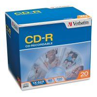 Verbatim CD-R Discs, 700MB/80min, 52x, w/Slim Jewel Cases, Silver, 20/Pack VER94936