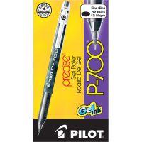 Pilot P-700 Precise Gel Ink Roller Ball Stick Pen, Black Ink, .7mm, Dozen PIL38610