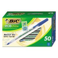 BIC Ecolutions Round Stic Ballpoint Pen, Blue Ink, 1mm, Medium, 50/Pack BICGSME509BE