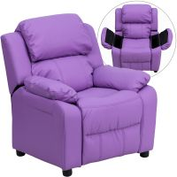 Flash Furniture Deluxe Padded Contemporary Lavender Vinyl Kids Recliner with Storage Arms FHFBT7985KIDLAVGG