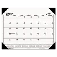 House of Doolittle Recycled Workstation-Size One-Color Monthly Desk Pad Calendar, 18 1/2 x 13, 2019 HOD0124