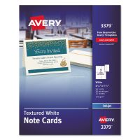 Avery Textured Note Cards, Inkjet, 4 1/4 x 5 1/2, Uncoated White, 50/Bx w/Envelopes AVE3379