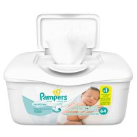Pampers Sensitive Baby Wipes, White, Cotton, Unscented, 64/Tub PGC19505EA