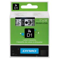 "DYMO D1 High-Performance Polyester Removable Label Tape, 1"" x 23 ft, Black on Clear DYM53710"