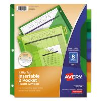 Avery Insertable Big Tab Plastic Dividers w/Double Pockets, 8-Tab, Multi-color Tab, Letter, 1 Set AVE11907