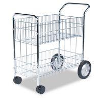 Fellowes Wire Mail Cart, 21-1/2w x 37-1/2d x 39-1/4h, Chrome FEL40912