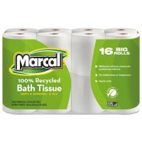 Marcal 100% Recycled Toilet Paper, 2-Ply, White, 4 x 4 Sheet, 168 Sheets/Roll, 16 Rolls/Pack MRC1646616PK