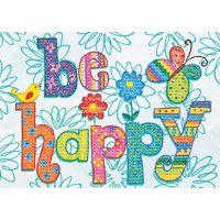 Dimensions Be Happy Mini Stamped Cross Stitch Kit NOTM050410
