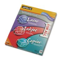 Apollo Color Laser/Inkjet Transparency Film, Letter, Clear, 50/Box APOUF1000E