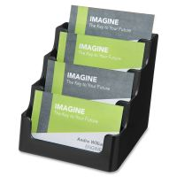 deflecto Recycled Business Card Holder, Holds 200 2 x 3 1/2 Cards, Four-Pocket, Black DEF90404