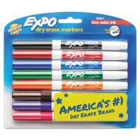 EXPO Low-Odor Dry-Erase Marker, Fine Point, Assorted, 8/Set SAN86601