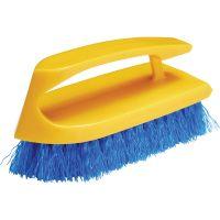 "Rubbermaid Commercial Long Handle Scrub Brush, 6"" Brush, Yellow Plastic Handle/Blue Bristles RCP6482COB"