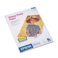 Epson Glossy Photo Paper, 60 lbs., Glossy, 8-1/2 x 11, 20 Sheets/Pack EPSS041141
