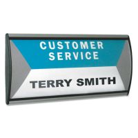 People Pointer People Pointer Wall/Door Sign, Aluminum Base, 8 3/4 x 4, Black/Silver AVT75390