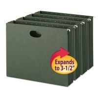 """Smead 3 1/2"""" Cap Hanging Pockets w/Full-Height Gussetts, Letter, Green, 10/Box SMD64220"""