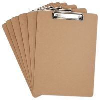 "Universal Hardboard Clipboard, 1/2"" Capacity, Holds 8 1/2w x 12h, Brown, 6/Pack UNV05562"