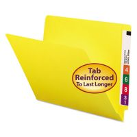 Smead Colored File Folders, Straight Cut, Reinforced End Tab, Letter, Yellow, 100/Box SMD25910