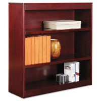 Alera Square Corner Wood Veneer Bookcase, Three-Shelf, 35-5/8 x 11-3/4 x 36, Mahogany ALEBCS33636MY