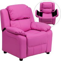 Flash Furniture Deluxe Padded Contemporary Hot Pink Vinyl Kids Recliner with Storage Arms FHFBT7985KIDHOTPINKGG