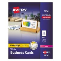 Avery Clean Edge Business Cards, Laser, 2 x 3 1/2, White, 1000/Box AVE5874