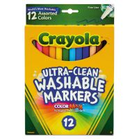 Crayola Washable Markers, Fine Point, Classic Colors, 12/Set CYO587813
