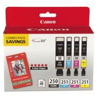 Canon 6497B004 (PGI-250; CLI-251) Ink & Paper Combo Pack, Black/Cyan/Magenta/Yellow CNM6497B004