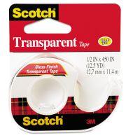 """Scotch Transparent Tape in Hand Dispenser, 1/2"""" x 450"""", 1"""" Core, Clear MMM144"""