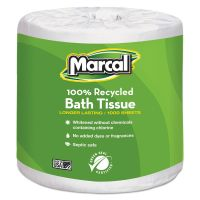 Marcal 100% Premium Recycled Toilet Paper, 1-Ply, White, 3 7/10 x 4 1/10 Sheet, 1000 Sheets/Roll, 40 Rolls/Carton MRC4415