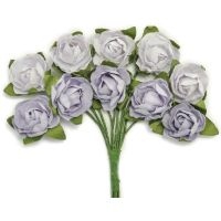 """Mini Paper Blooms .5"""" Flowers W/Wire Stems 10/Pkg NOTM272346"""