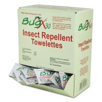 BugX Insect Repellent Towelettes Box, DEET, 50/Box SUXCBXW010644BX