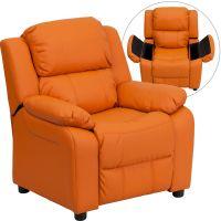 Flash Furniture Deluxe Padded Contemporary Orange Vinyl Kids Recliner with Storage Arms FHFBT7985KIDORANGEGG