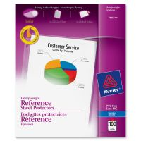 Avery Top-Load Poly Sheet Protectors, Letter, Heavy Gauge, Nonglare, Clear, 100/Box AVE74102