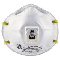 3M Particulate Respirator 8210V, N95, Cool Flow Valve, 10/Box MMM8210V