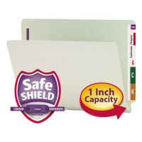 Smead One Inch Expansion Folder, Two Fasteners, End Tab, Letter, Gray Green, 25/Box SMD34705