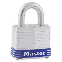 "Master Lock Four-Pin Tumbler Lock, Laminated Steel Body, 1 9/16"" Wide, Silver/Blue, Two Keys MLK3D"
