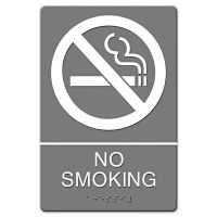 Headline Sign ADA Sign, No Smoking Symbol w/Tactile Graphic, Molded Plastic, 6 x 9, Gray USS4813